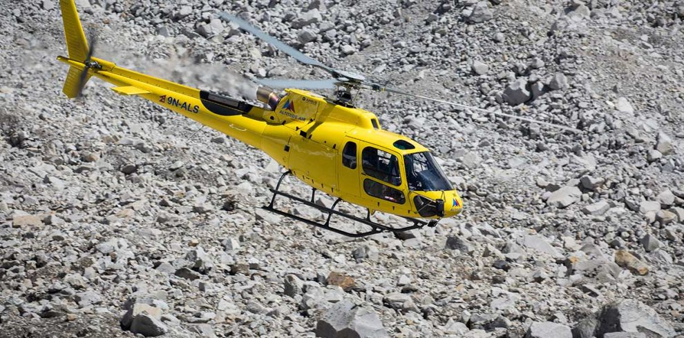 Helicopter rescue from island peak